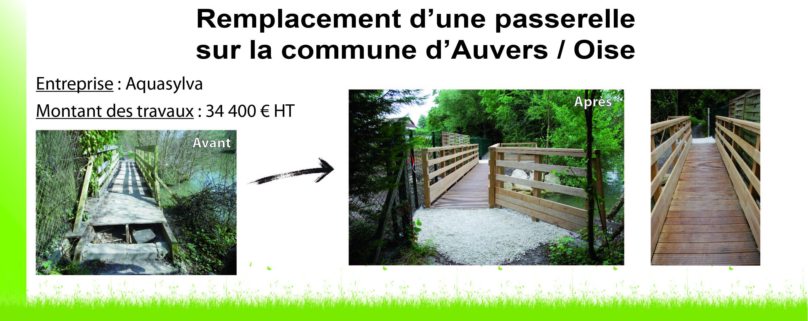 Remplacement d'une passerelle à Auvers sur Oise