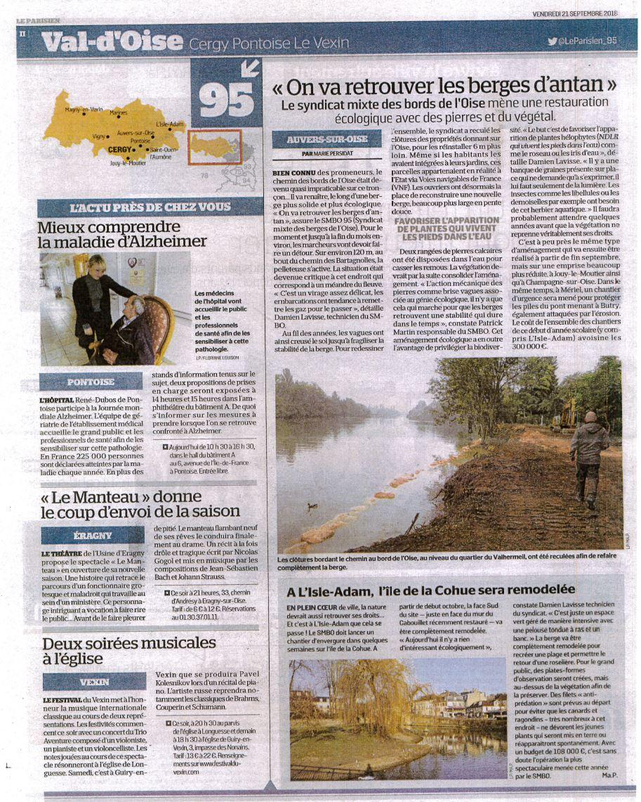 20180921 - Article le Parisien - aménagements Auvers et Cohue